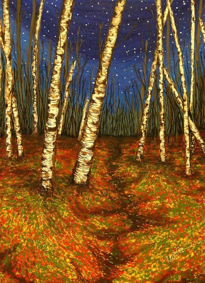 Birch Tree Art Birch Trees At Night Painting Birch