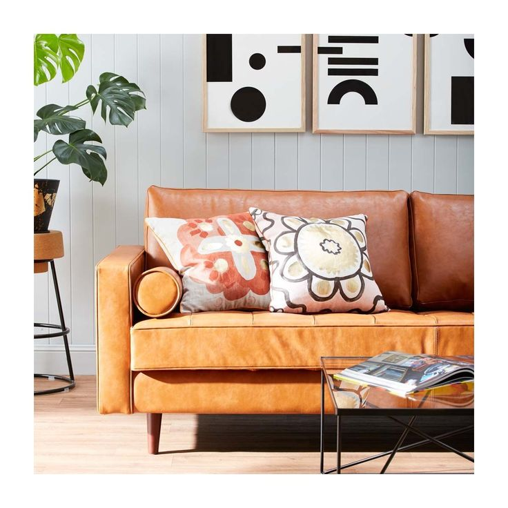 Shop Modern Sofas Online or Visit Our Showrooms To Get Inspired With The Latest Furniture From Life Interiors - Harper 3 Seater Leather Sofa (Walnut, Tan Vintage)