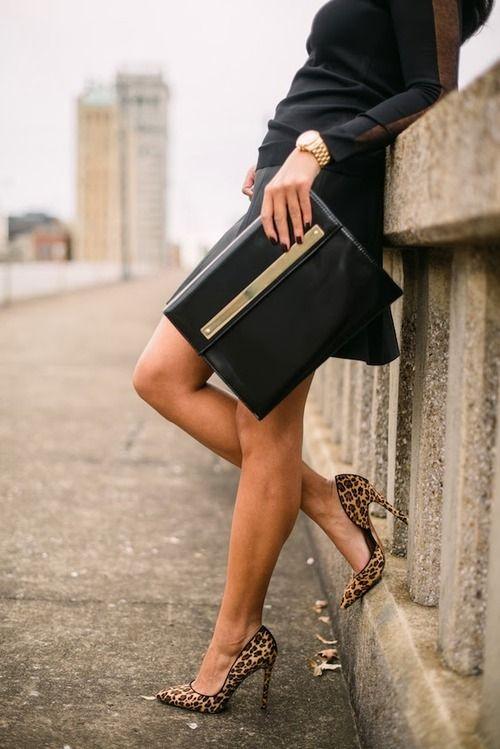 leopard pumps w/ black skirt or dress