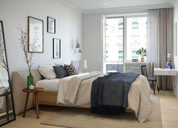dormitorio con escritorio y diseño escandinavo