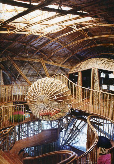 Bent bamboo architecture by Olav Bruin; Soneva Kiri Resort, Thailand