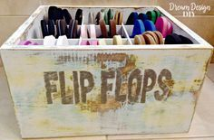 Perfect Beachy Flip Flop Bin ! By Dream Design DIY