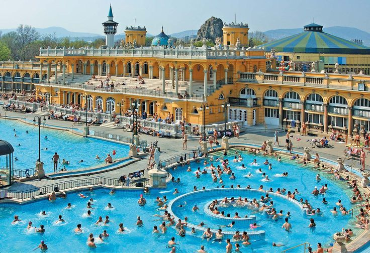 Szechenyi Baths Beautiful Thermal Bath in Budapest This magnificent  complex covers an area 6.220 SQ it has steam chambers, 10-saunas and 18 pools and cater group thermal bathing section. Amazing Hungary
