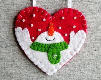 Vilt Kerst ornamenten sneeuwpop set van 3 boom door feltgofen