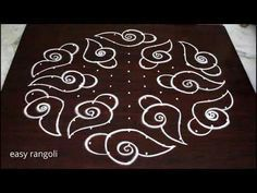 Lotus flower kolam designs with 9 dots || muggulu designs with dots || easy rangoli designs - YouTube