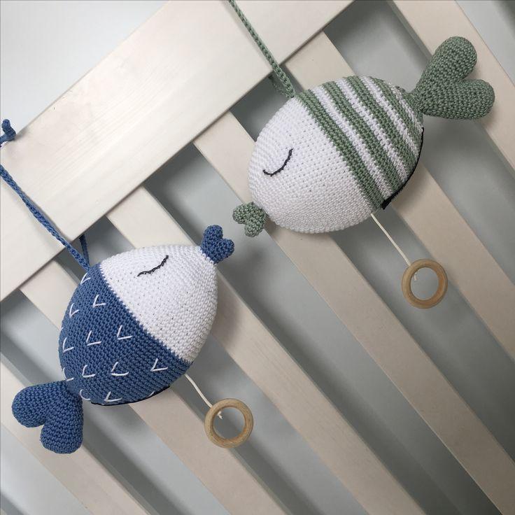 Muziekknuffel VIS - muziekdoosje - gehaakt - handgemaakt - babykamer - kinderkamer - zwanger - baby - kraamkado