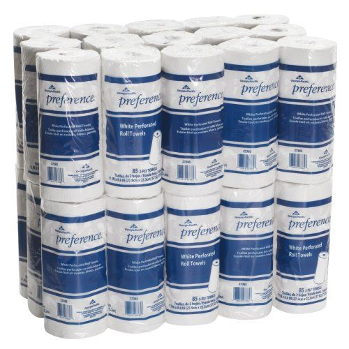The #Georgia-Pacific Preference 27385 white 2-ply perforated roll towel can be used for general-purpose cleaning and wiping. It is suited for use in food service...