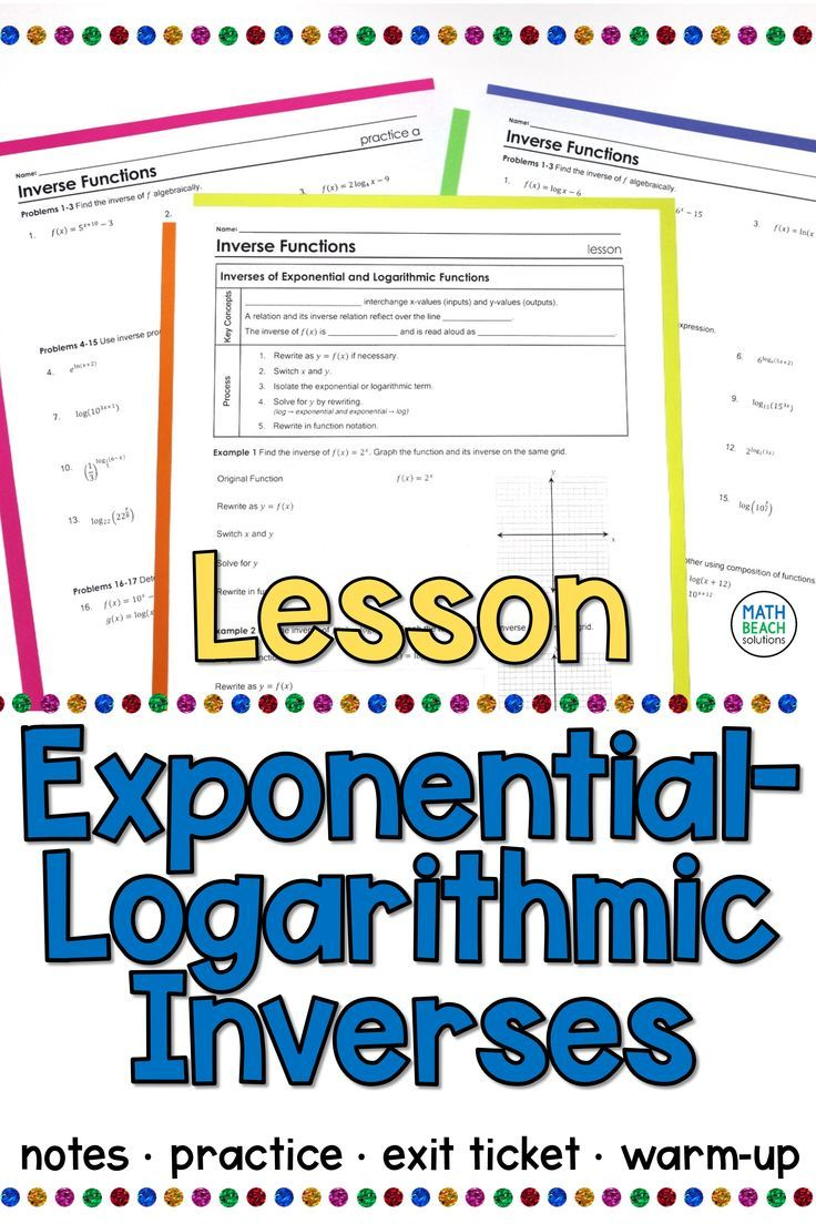 Exponential Logarithmic Inverses Lesson In 2020 Algebra Lesson Plans Algebra Lessons Exponential