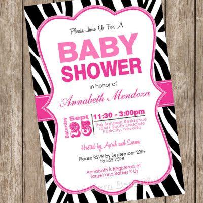 best baby shower zebra theme inspirations images on, Baby shower invitation