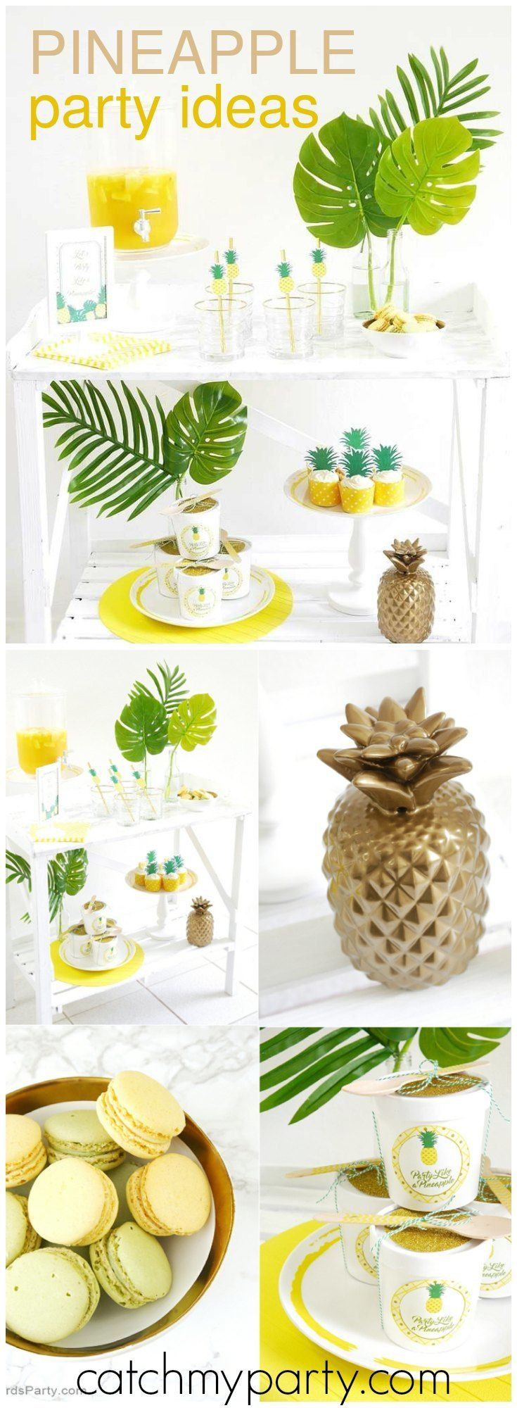 Party like a pineapple is the fun theme of this modern party! See more party ideas at Catchmyparty.com!