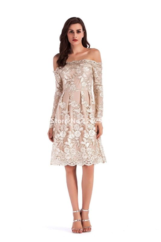 f109872dd9247 In Stock Sexy Boat Neck Embroidery Long Sleeve Cocktail Dress Lace ...