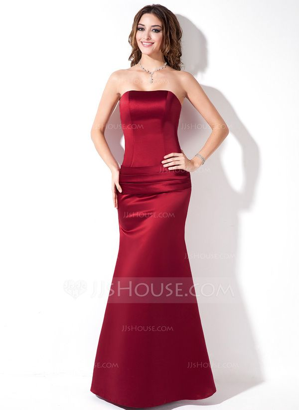 Trumpet/Mermaid Strapless Floor-Length Satin Bridesmaid Dress With Ruffle (007001835)