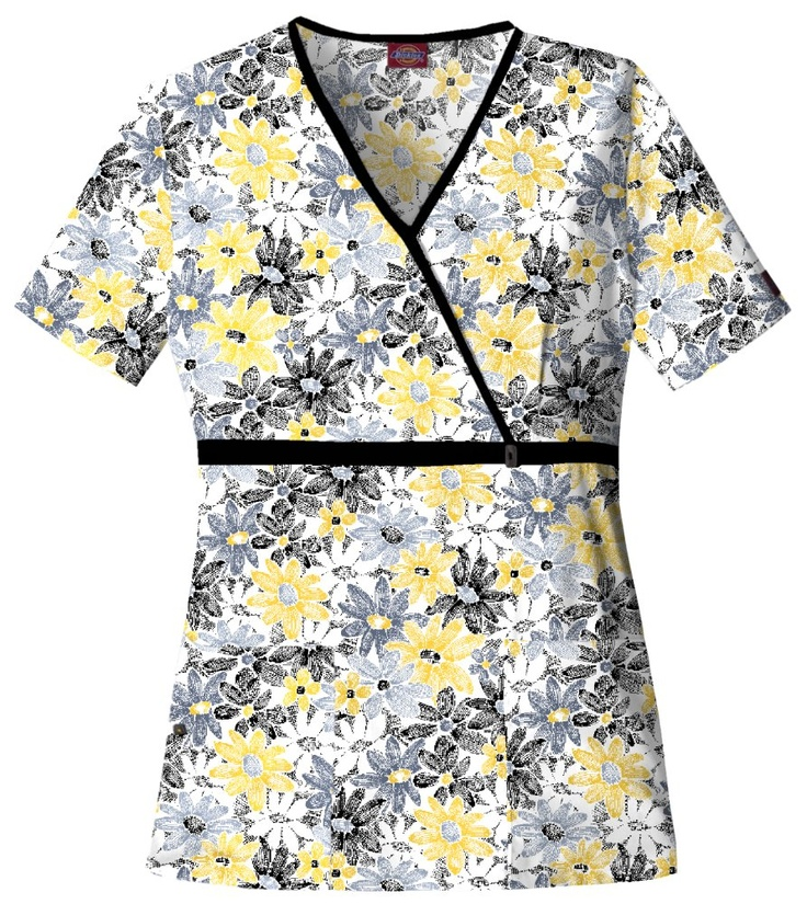 Susnshine Floral Mock Wrap Natural Elements Print Top - Dickies 84749