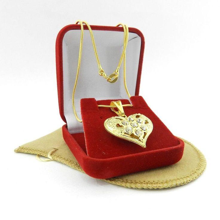 Corrente Feminina 45cm Coração 7 Strás Folheada Ouro CR336