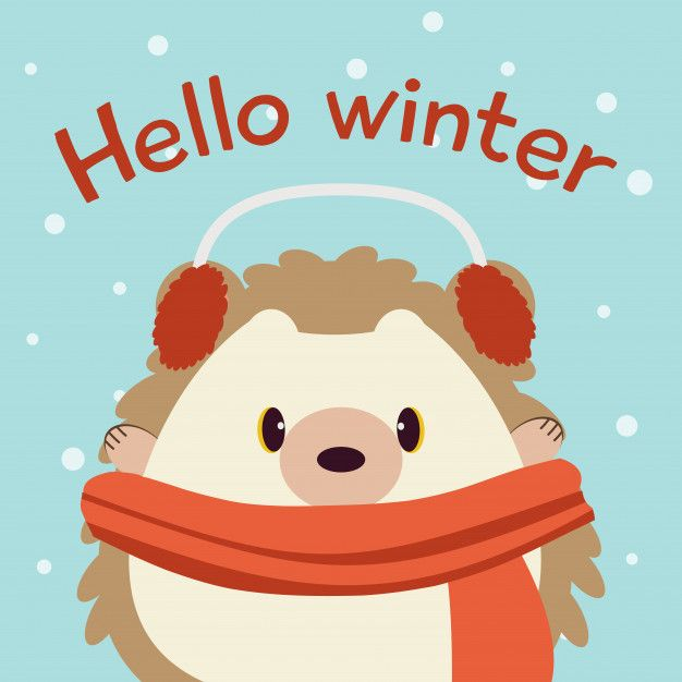 The Character Of Cute Hedgehog In The Blue Background With Snow And Text Of Hello Winter Hello Winter Cute Hedgehog Hedgehog