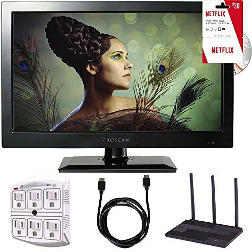 Proscan PLEDV1945A-B 19-Inch 720p 60Hz LED TV-DVD Combo Freedom From Cable Bundle  This BEACH CAMERA EXCLUSIVE Features The Proscan PLEDV1945A-B 19-Inch 720p 60Hz LED TV-DVD Combo  This FLAT PANEL LED TV Features A BUILT IN DVD PLAYER, A VGA Port, and a DIGITAL ATSC TUNER  The TV Is WALL MOUNTABLE with a SUPER SLIM EDGE, It Will Look Great In Any Room  INCLUDED IN THE BOX: Proscan PLEDV1945A-B 19-Inch 720p 60Hz LED TV-DVD Combo | Remote Control | Documentation  BUNDLE INCLUDES: Proscan...