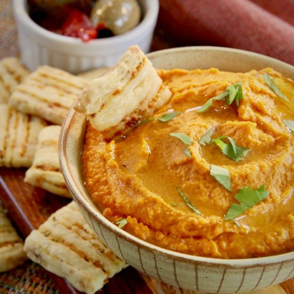 Healthy Halloween Roasted Red Pepper Hummus Really Is A Tasty Appetizer