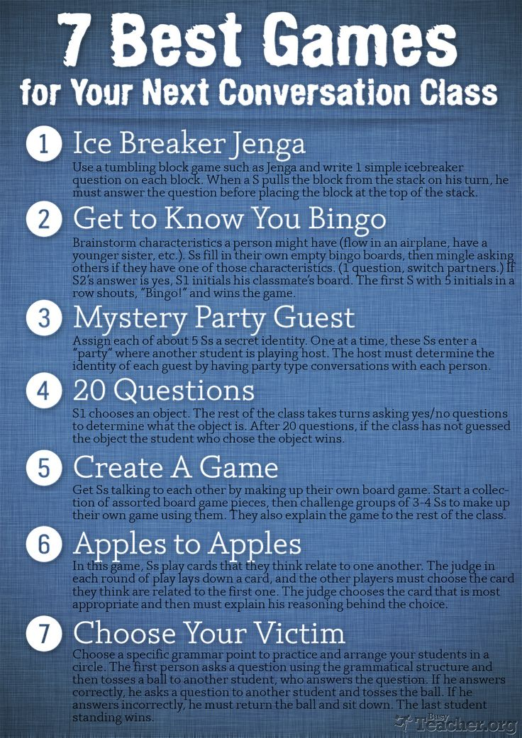Excellent ideas for teacher english lessons. http://busyteacher.org/13340-conversation-class-7-best-games.html