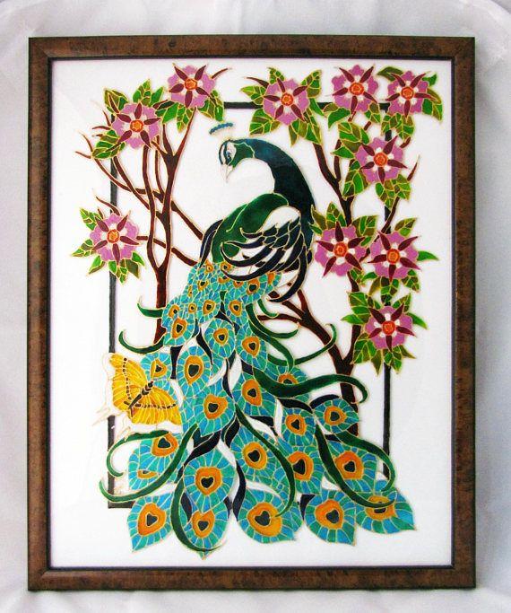 Quadro PAVONE E FARFALLA dipinto a mano su vetro turchese