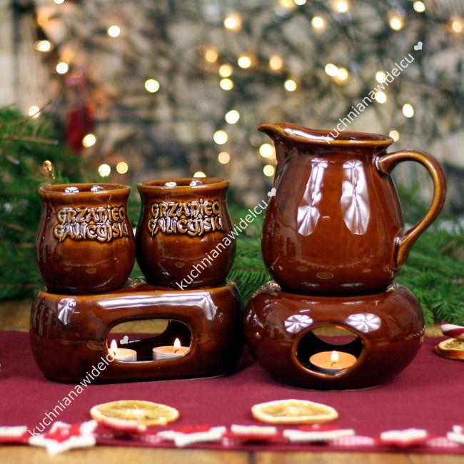 Zestaw do grzanego wina: podwójny podgrzewacz z kubeczkami + dzbanek Bolek z podgrzewaczem + pudełko prezentowe