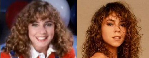 Given the right amount of frizzy hair, just the right amount of lighting, and a slightly younger figure; Mariah Carey (R) could easily pass up for the late Dana Plato (L).