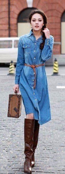 Удобные и практичные джинсовые платья и платья-рубашки.