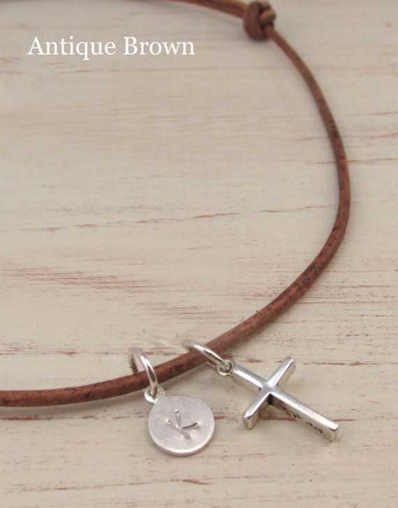 Small Sterling Silver Cross Necklace with Initial by TNineDesign