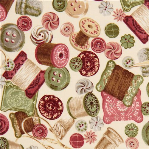 beige Vintage sewing accessories fabric by Robert Kaufman