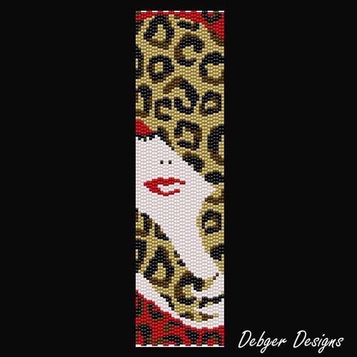 Leopard Lady - Beaded Peyote Bracelet Cuff Pattern