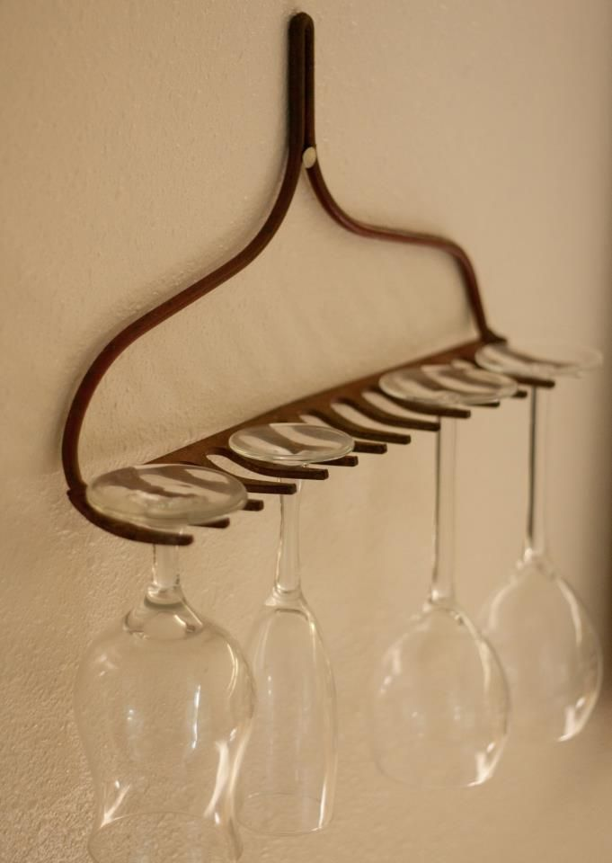 Use that old rack for wine glasses.