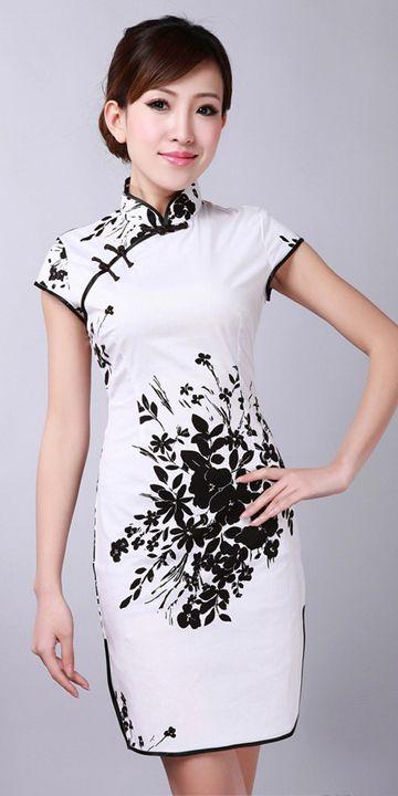 Black & White Floral Short Cheongsam Chinese Dress http://www.mkspecials.com/  http://www.kickscenter.com