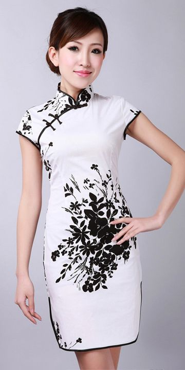 Black & White Floral Short Cheongsam Chinese Dress http://www.mkspecials.com/  http://www.kickscenter.com