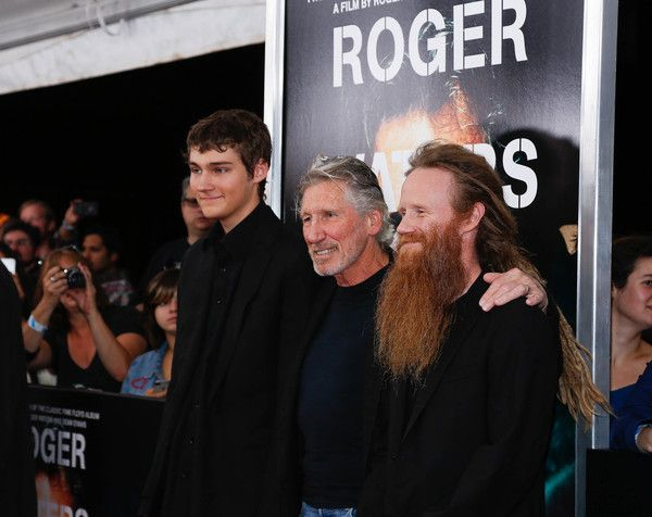 """Roger Waters Photos Photos - Roger Waters (C) and sons Jack Waters (L) and Harry Waters attend the New York Premiere of """"Roger Waters The Wall"""" at Ziegfeld Theater on September 28, 2015 in New York City. - 'Roger Waters the Wall' New York Premiere"""