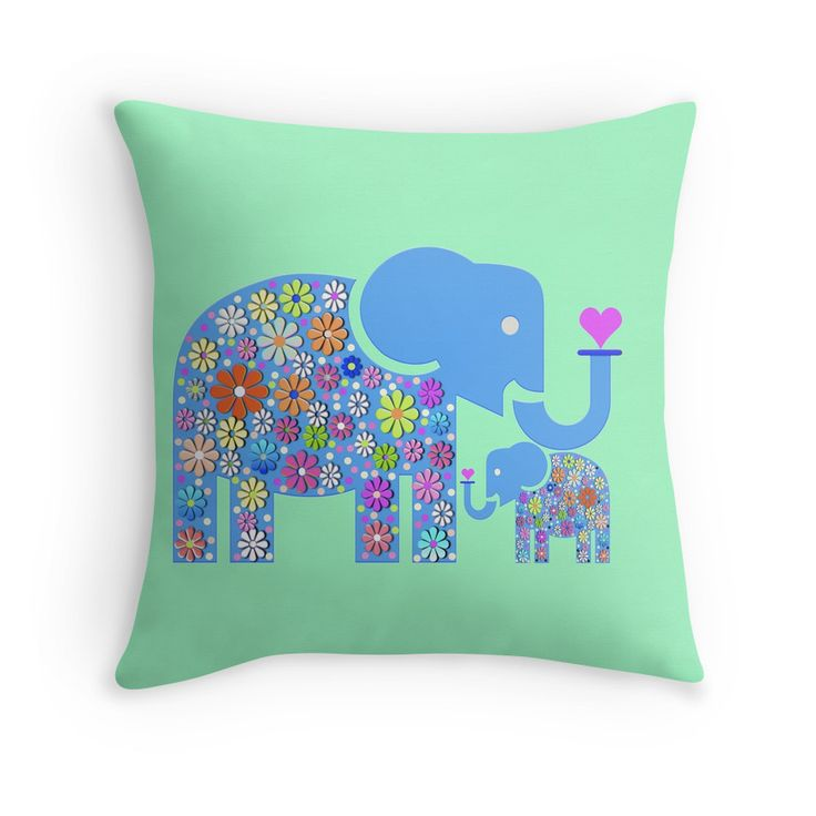 Mum & Baby Elephant #throwpillows #pillows #desighnerpillows #kidspillows #babyelephantpillows #heart #animal #africa #macsnapshot #google #hippieflowers #flowers