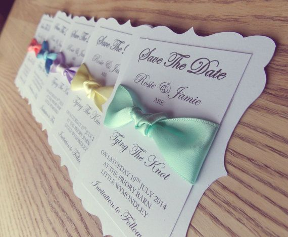 Save The Date 'Tie the Knot' ribbon wedding invitation set of 50, pastel colours, mint, peach, coral, lemon, lavender, blue on Etsy, $95.24