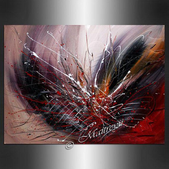 LARGE ARTWORK Original paintings red abstract Modern Art Original Contemporary Art Deco Palette KNIFE Oversize artwork