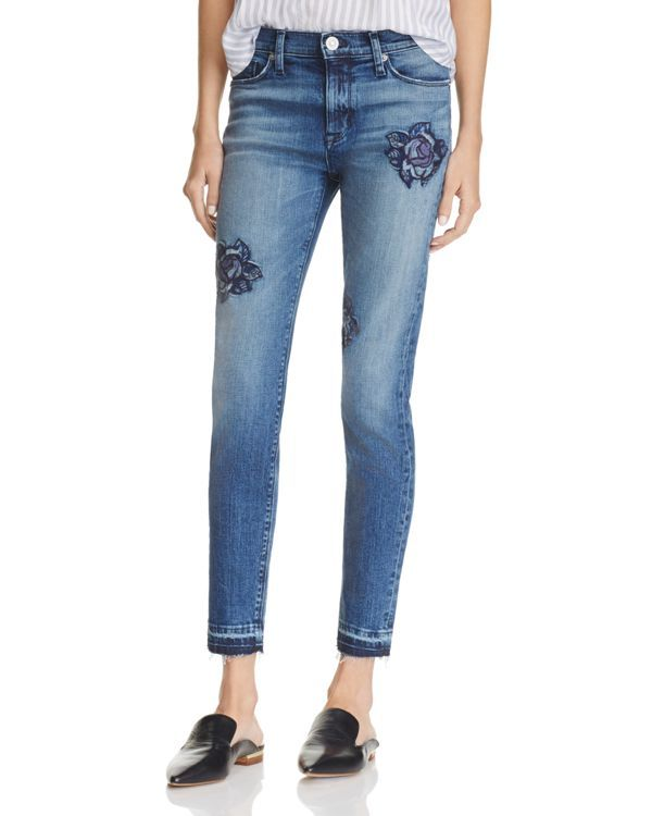 A figure-flaunting fit and enchanting rose embroidery meet rugged released hems while adding an intriguing edge to these only-at-Bloomingdale's Nico jeans from Hudson. | Cotton/polyester | Machine was