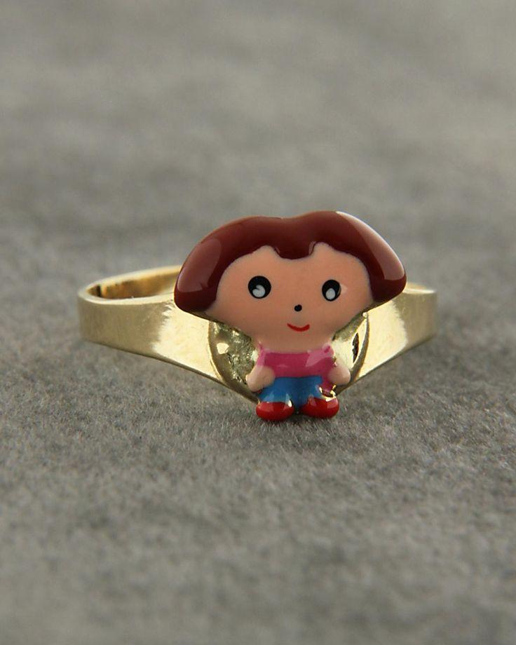 Παιδικό δαχτυλίδι χρυσό Κ14 με Σμάλτο