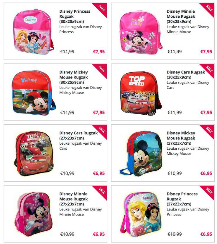 http://www.stuntwinkel.nl/hobby-vrije-tijd/op-reis/koffers-tassen/ 8 verschillende Disney Rugzakken vanaf €6,95     -Minnie -Mickey -Princess -Cars Afmetingen: 30x25x9cm