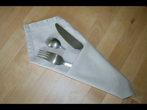 Origami - Serviette porte-couverts - how to fold a napkin to hold table-setting of silverware