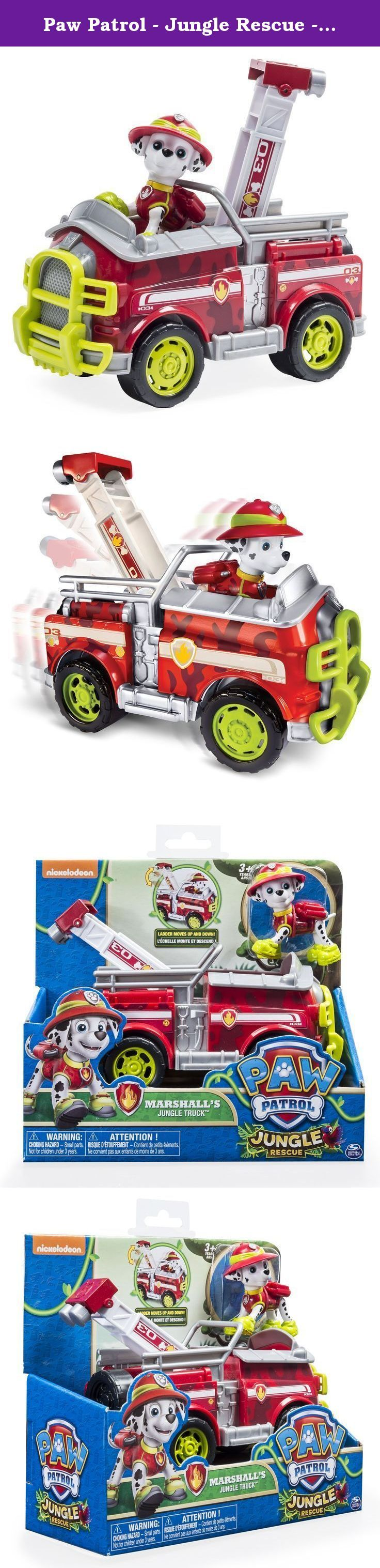 Paw Patrol - Jungle Rescue - Marshall's Jungle Truck. No job is too big and no pup is too small! Now you can re-enact new jungle-themed rescue missions with Marshall and his jungle truck! Race to the ruff-ruff rescue with Marshall and his real working ladder! Together, your child's imagination will be lit up with pup inspired rescue missions full of friendship, teamwork and bravery. With Marshall and his Jungle Truck you can save the day! Recreate your favorite Paw Patrol adventures with…