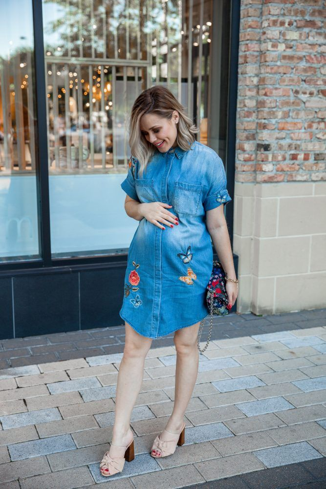 f2e6eba8352f0 Floral Embroidered Shirtdress   Lord & Taylor Dress   Denim Dress   Spring  outfit   Floral Dress   Maternity Fashion   Uptown with Elly Brown