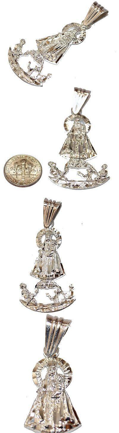 Necklaces and Pendants 98506: Virgen De La Caridad Del Cobre Y Juanes .925 Sterling Silver With Silver Chain BUY IT NOW ONLY: $49.95