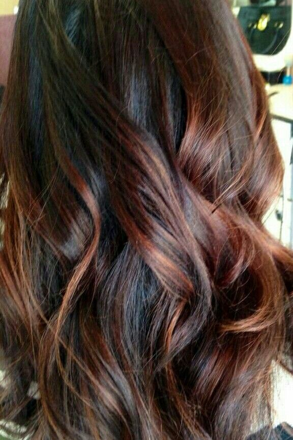 Dark Brown Red Balayage Brown Hair With Auburn Highlights Brunette Hair Color