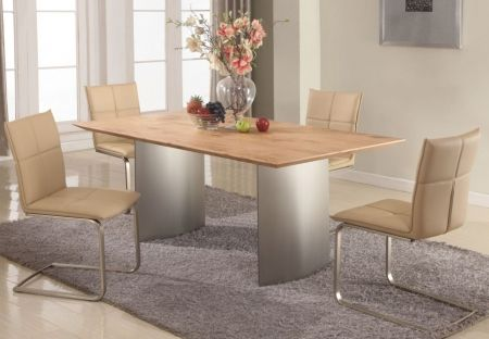 Image of JESSICA-DT-SET Jessica Matt Light Oak Dining Table Top with Stainless Steel Dining Table Base + 4 Dining Room