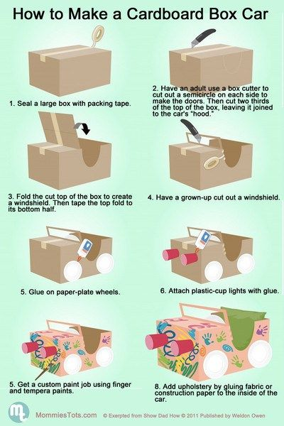We recently posted an adorable picture of personal cardboard box cars. Now we found easy-to-follow instructions for how to make your cardboard car!