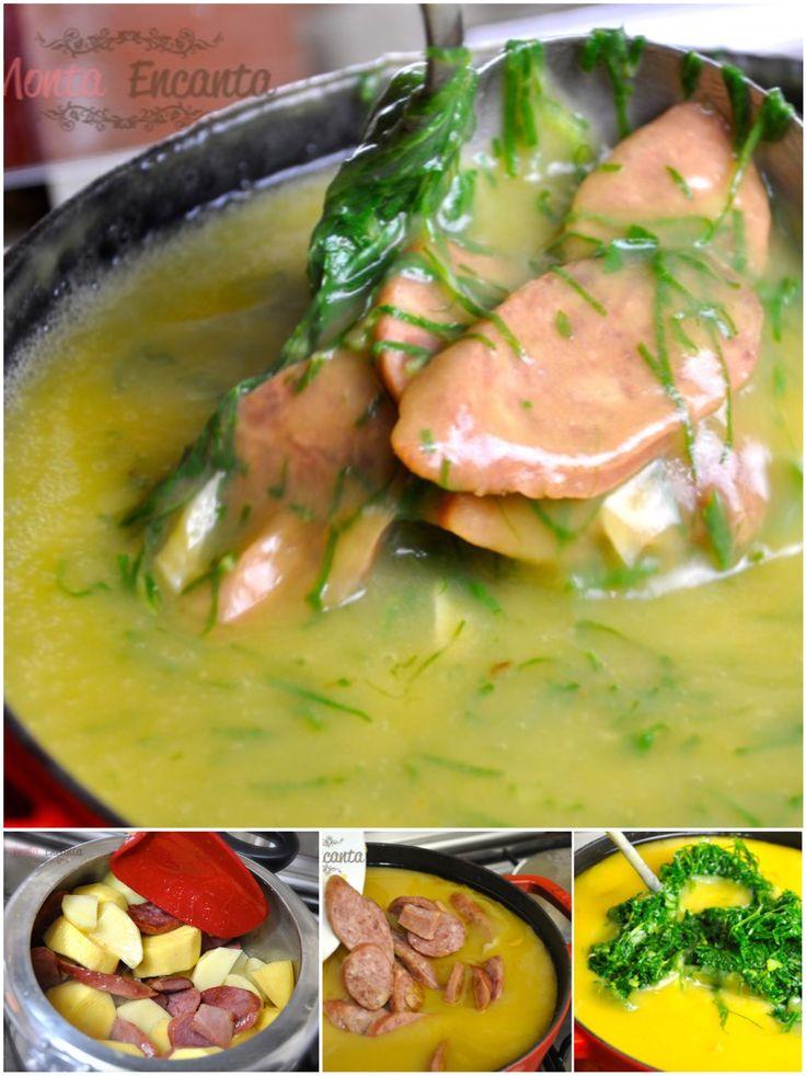 Caldo Verde de Mandioquinha, sopa creme de mandioquinha - batata baroa, com batata inglesa, linguiça calabresa defumada ou paio e couve manteiga bem verdinha