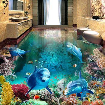 Benutzerdefinierte 3D Boden Malerei Wandbild Fototapete Unterwasserwelt  Delphin Wohnzimmer Bad PVC Wasserdicht Papel De Parede 3D