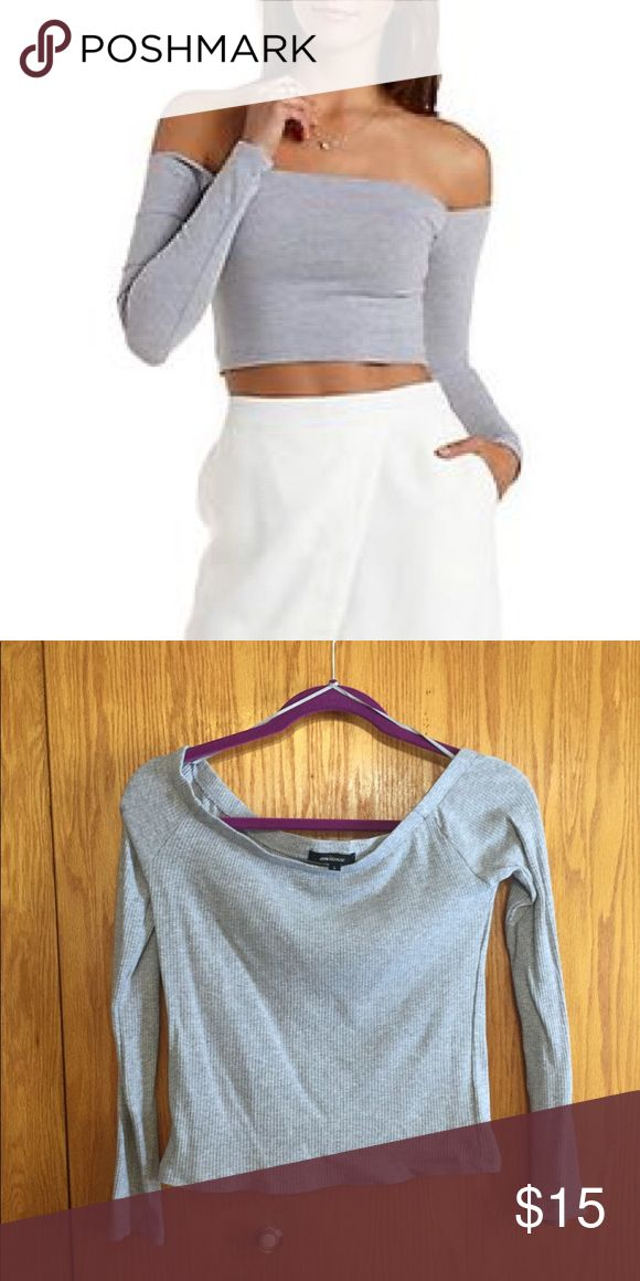 🌟💕SUPER TRENDY OFF THE SHOULDER RIBBED TOP💕⭐️ Off the shoulder anything is super in this fashion season! Have your own in this beautiful, neutral gray ribbed top from Charlotte Russe. I've only worn it once and it was to film a video, so you could basically say I haven't worn it! I love this Top to pieces but it's time to go. Let's get you into it today so you can be apart of the trend and look super cute doing it! 💖🌟 Charlotte Russe Tops