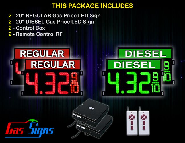 20 Inch Digits - 2 Red REGULAR & 2 Green DIESEL Digital GAS PRICE Gasoline LED SIGNS - Complete Package w/ RF Remote Control with housing dimension and format 8.88 9/10 comes with complete set of Control Box, Power Cable, Signal Cable & 2 RF Remote Controls (Free remote controls).